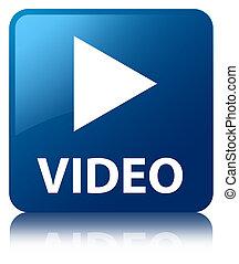 blaues quadrat, taste, reflektiert, video, glänzend