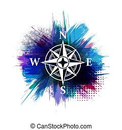 blaues, rahmen, windrose, grunge, olg