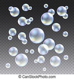 blaues, satz, schaum, waschen, aqua, abbildung, durchsichtig, wasser, kugelförmig, kariert, vektor, hintergrund., design, blasen, kugel, seife