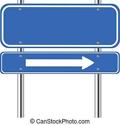 Blaues Schild mit weißem Pfeil