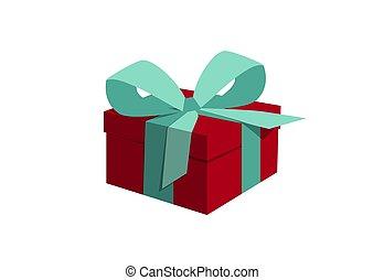 blaues, schleife, geschenk, roter kasten