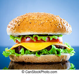 blaues, schmackhaft, hamburger, appetitanregend