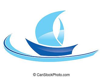 Blaues Segelboot
