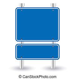 Blaues Straßenschild