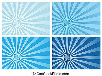 blaues, strahl, sonne ausbruch, licht