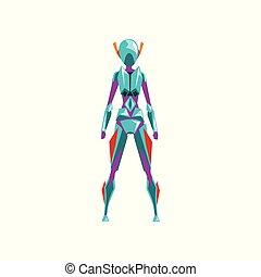 blaues, superhero, weibliche , raum, cyborg, roboter, abbildung, zurück, klage, kostüm, vektor, hintergrund, weißes, ansicht