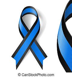 Blaues und schwarzes Band.