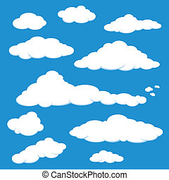 blaues, vektor, himmel-wolke
