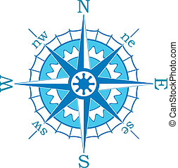 blaues, vektor, kompaß