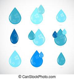 Blaues Vektorwasser sinkt Symbole.