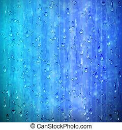 Blaues verregnetes Fenster mit Tropfen und verschwommenem Hintergrund