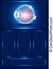 blaues, vision, auge, abstrakt, abbildung, menschliche
