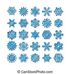 blaues, winter, satz, silhouette, freigestellt, hintergrund, schneeflocke, weißes, ikone, vektor, abbildung