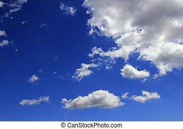 blaues, wolkengebilde, wolkenhimmel, steigung, himmelsgewölbe, hintergrund
