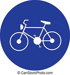 blaues zeichen, fahrrad, verkehr