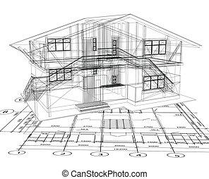blaupause, vektor, house., architektur