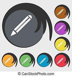 bleistift, buttons., gefärbt, bearbeiten, button., zeichen, zufriedene , vektor, acht, symbole, icon.