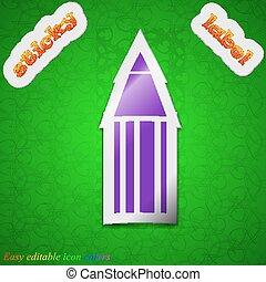 bleistift, gefärbt, zeichen., klebrig, hintergrund., vektor, grün, schick, etikett, symbol, ikone