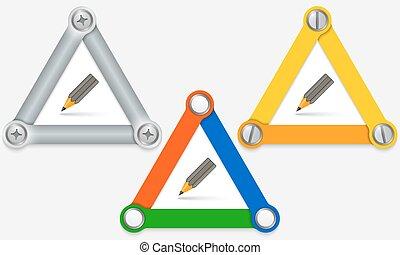 bleistift, satz, gefärbt, dreiecke, drei