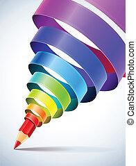 bleistift, spirale, kreativ, schablone, farbig, geschenkband