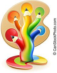 bleistifte, begriff, kunst, farbe, baum, kreativ