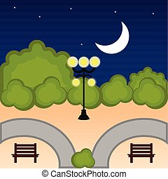 Blick auf einen öffentlichen Park in der Nacht