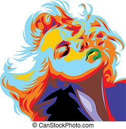 blick, marilyn, m�dchen, blond, monroe, mögen