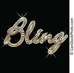 bling, vektor, wort