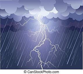 Blitzschlag. Vektorregenbild mit dunklen Wolken
