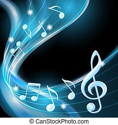 Blue abstrakt Noten Musik Hintergrund.