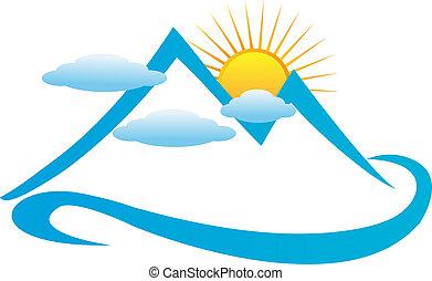 Blue cloudy mountain logo.