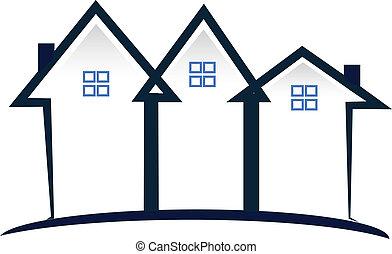 Blue Häuser Immobilienlogo.