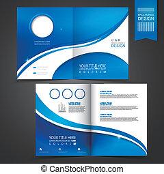 Blue Template Design für Werbebroschüren.