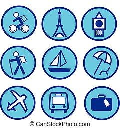 Blue travel and tourism icon set -2.