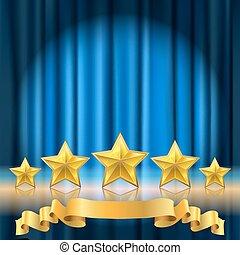 Blue Vorhang Theater Hintergrund und eine Reihe von goldenen realistischen Sternen mit Reflexion.