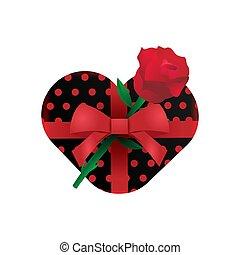 blume, liebe, kasten, geschenk, vektor, design, realistisch, rose