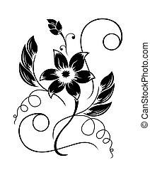Blume schwarz ein weißes Muster