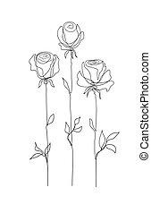 blume, set., rose, begriff, tendenz, stilvoll, kontinuierlich, modern, muster, design., säumen art, drawing.