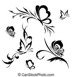 blumemuster, vlinders