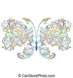 blumen-, abstrakt, butterfly.