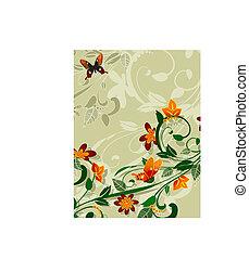 blumen-, abstraktes design, vlinders