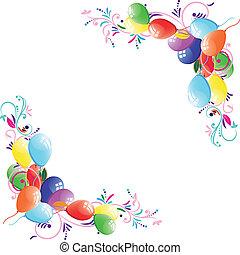 blumen-, balloon, hintergrund