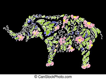 blumen-, entwerfer, elefant