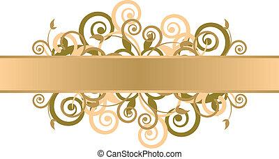 blumen-, gold, hintergrund
