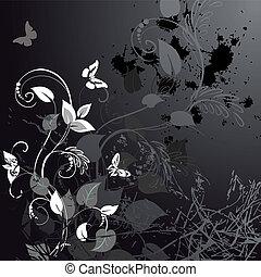 blumen-, grunge, vlinders, design