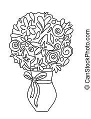 blumen, hand, children., reihe, kreativ, fruehjahr, gezeichnet, erwachsene, buch, home., bow., vektor, blumengebinde, zeichnung, kreativität, blumenvase, seiten, färbung, abbildung
