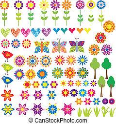 Blumen, Herz und Tiersammlung