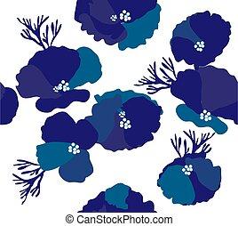blumen-, hintergrund, blaues