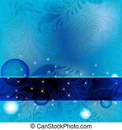 blumen-, hintergrund, rahmen, blaues, seamless, weinlese