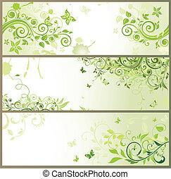 blumen-, horizontal, grün, banner